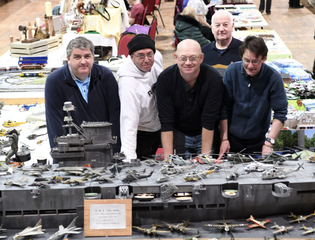 Lochaber modellers with their impressive display centred around the WW2 HMS Ark Royal. Picture Iain Ferguson, alba.photos  NO F19 Model show 01