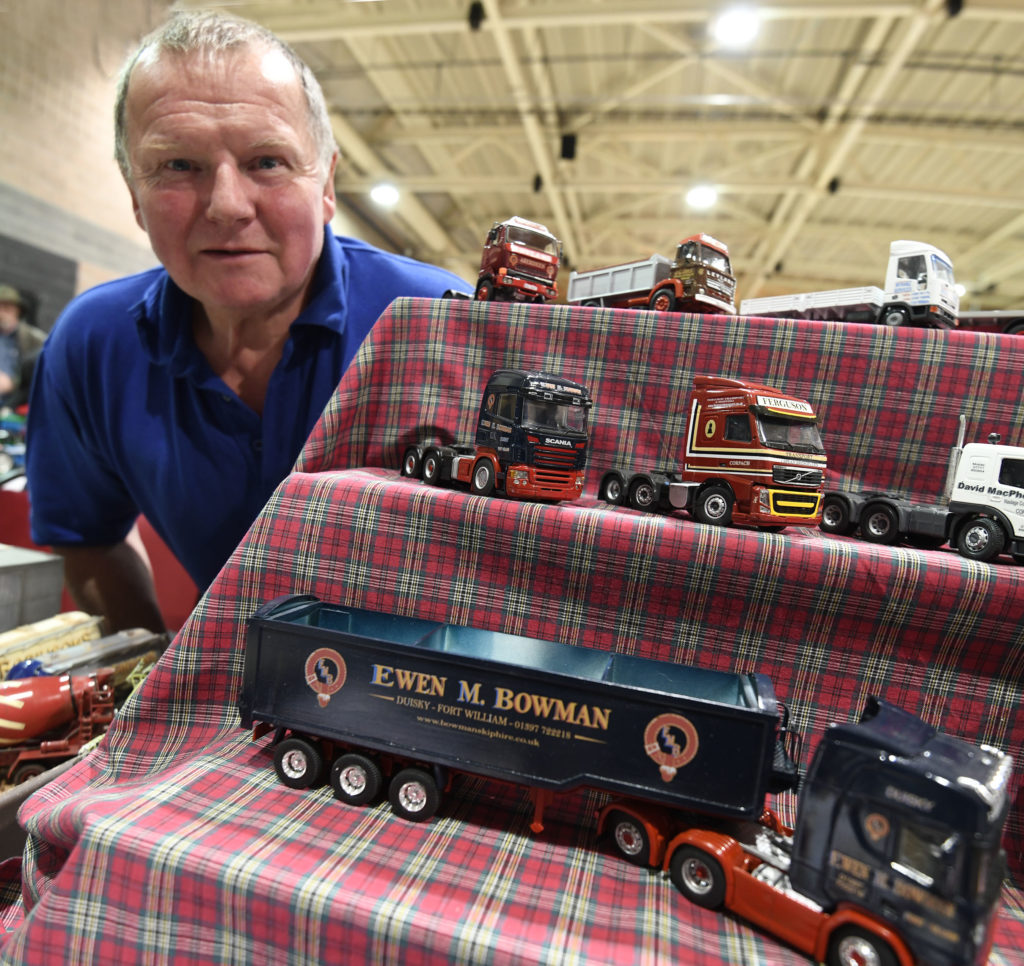 Model show organiser Robert Wilson with some of his exhibits. Picture Iain Ferguson, alba.photos  NO F19 Model show 06