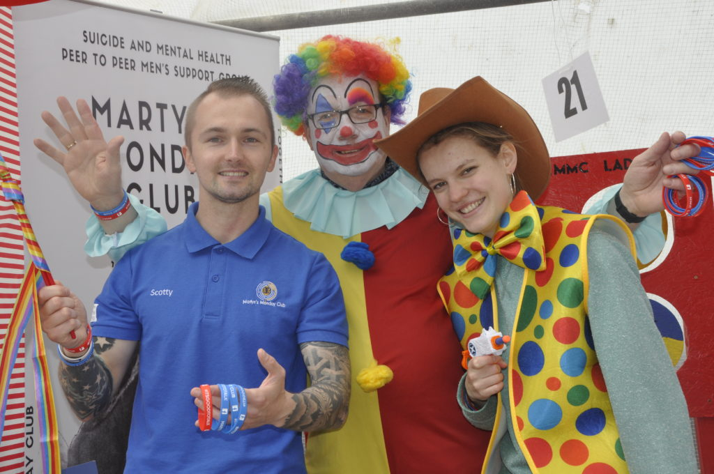 Having fun at Martyn's Monday Club stall were Scott McNicol, Alan MacDougal and Lena Sutter.