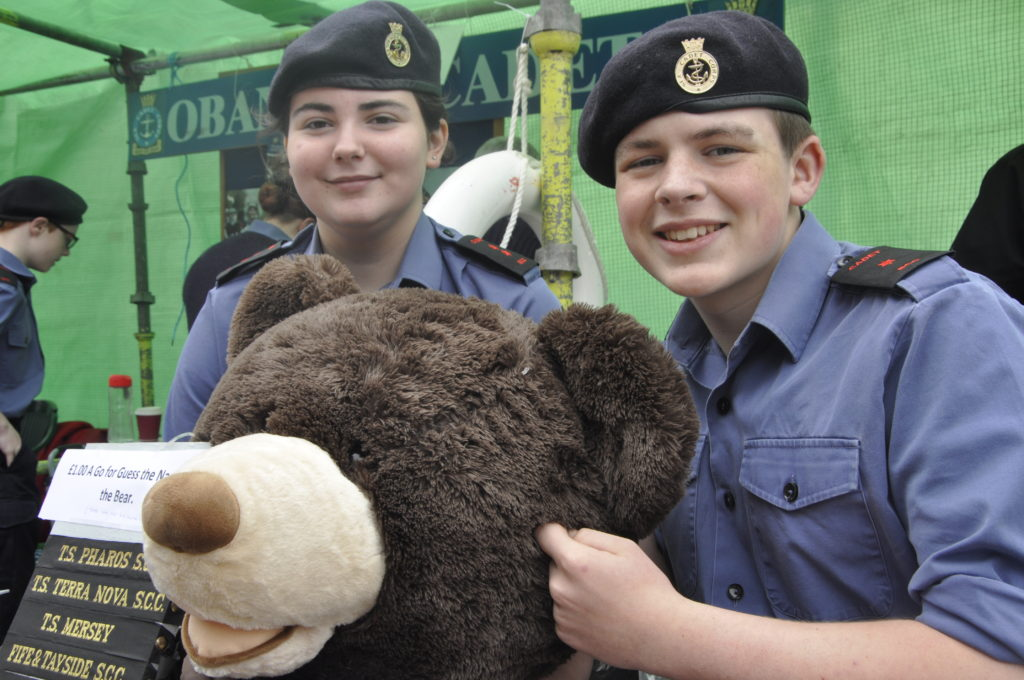 Oban Sea Cadets Kate Home and William Sykes at their Name The Teddy stall.