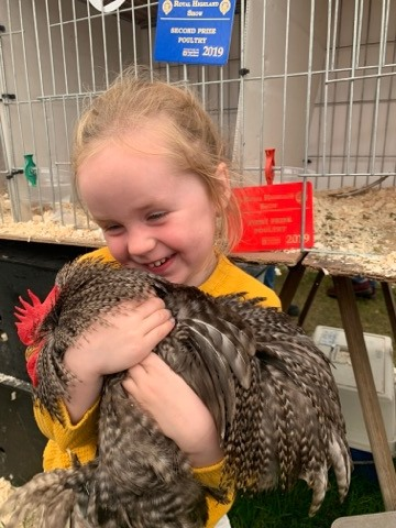 Three-and-a-half-year-old Aila Paterson from Cove was delighted with her rosette for this Pekin cockerel. no_a26RHS03_PatersonHens