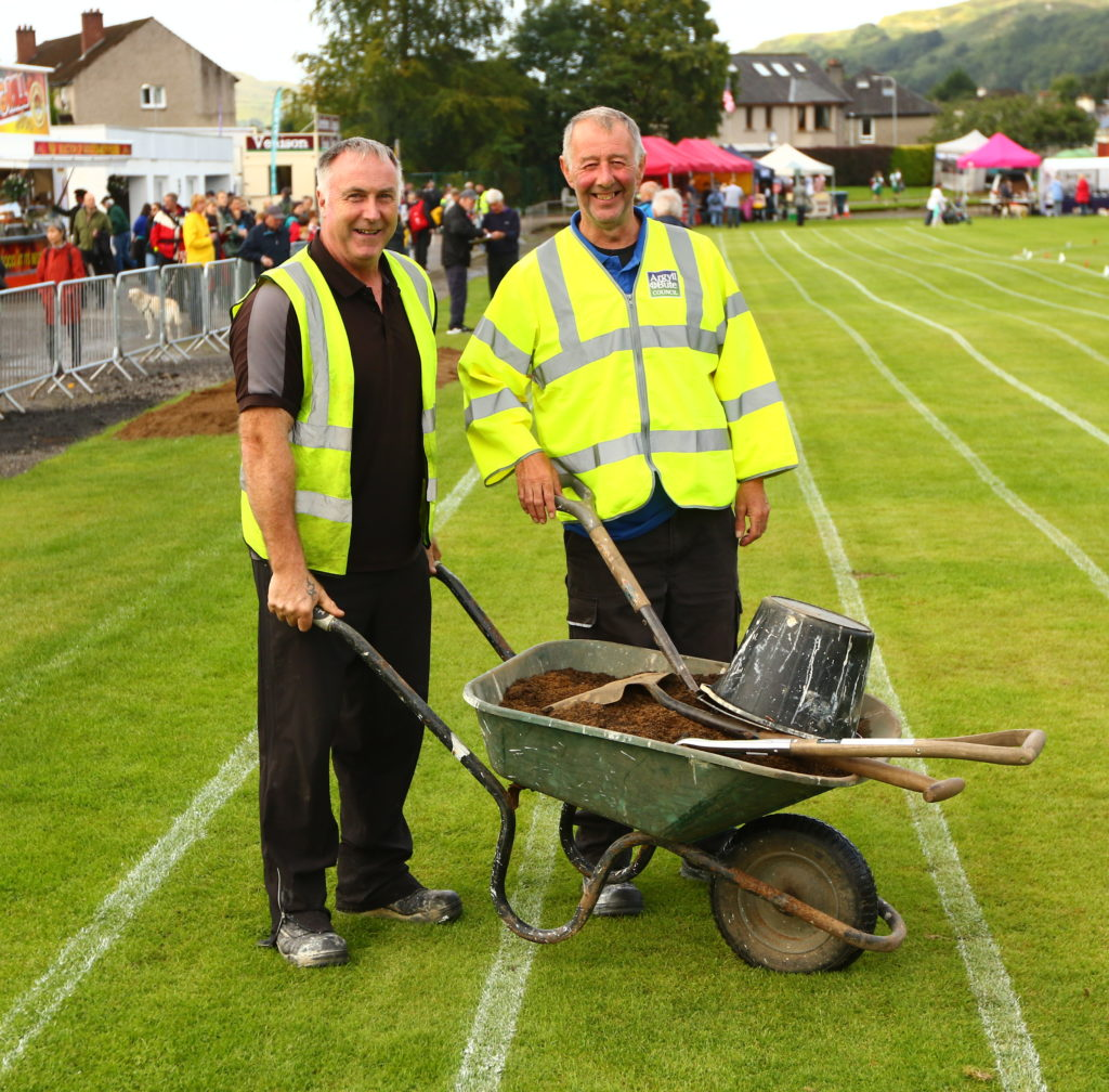 Hard-working ground crew Ian Hay and Willie MacAdam kept the Mossfield surface in good condition.