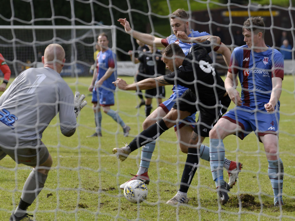 Fort trialist Stephen McGhie can't put the ball in the net from close range. Photographs: Iain Ferguson, alba.photos.