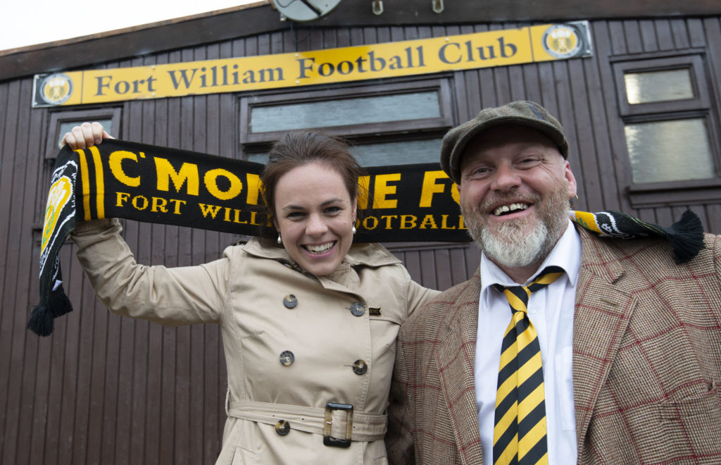 Kate Forbes shows her support for the Fort with club director Colin Wood.