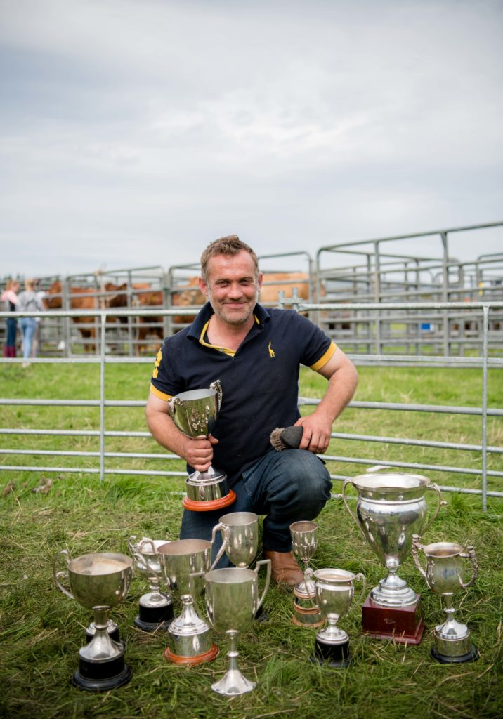 John Nudds with his trophy haul from the blackface sheep sections.  NO F35 LAS 2019 - John Nudds of Torr-Na-Faire Lochaline