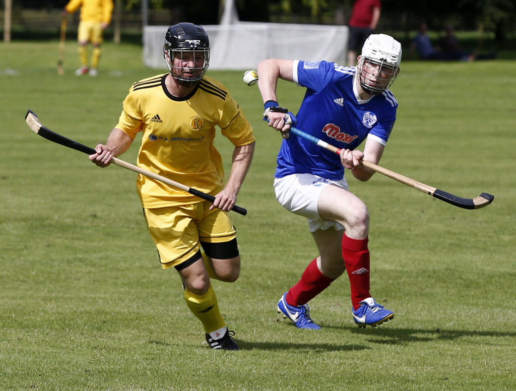 Inveraray's Nicholas Crawford and Scott MacDonald, Kyles Athletic, in a race for the ball during last Saturday's game at the Winterton. Photo: Stephen Lawson