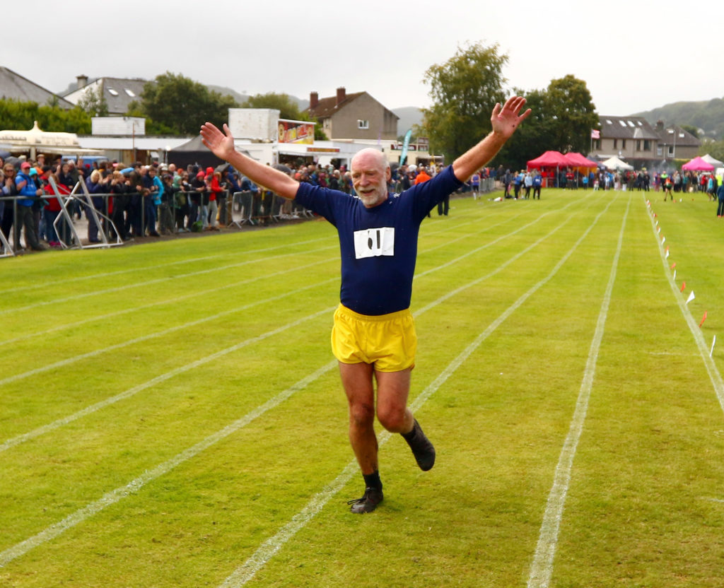 David Duncan of Rannoch got a huge round of applause as he finished the hill race on his 65th birthday.