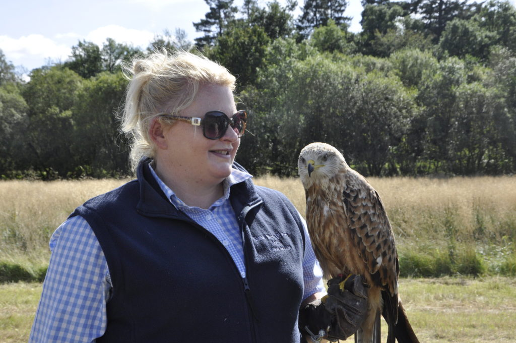 Joanne Hunter of Kintail Birds of Prey with her three month old Red Kite, Rum.
