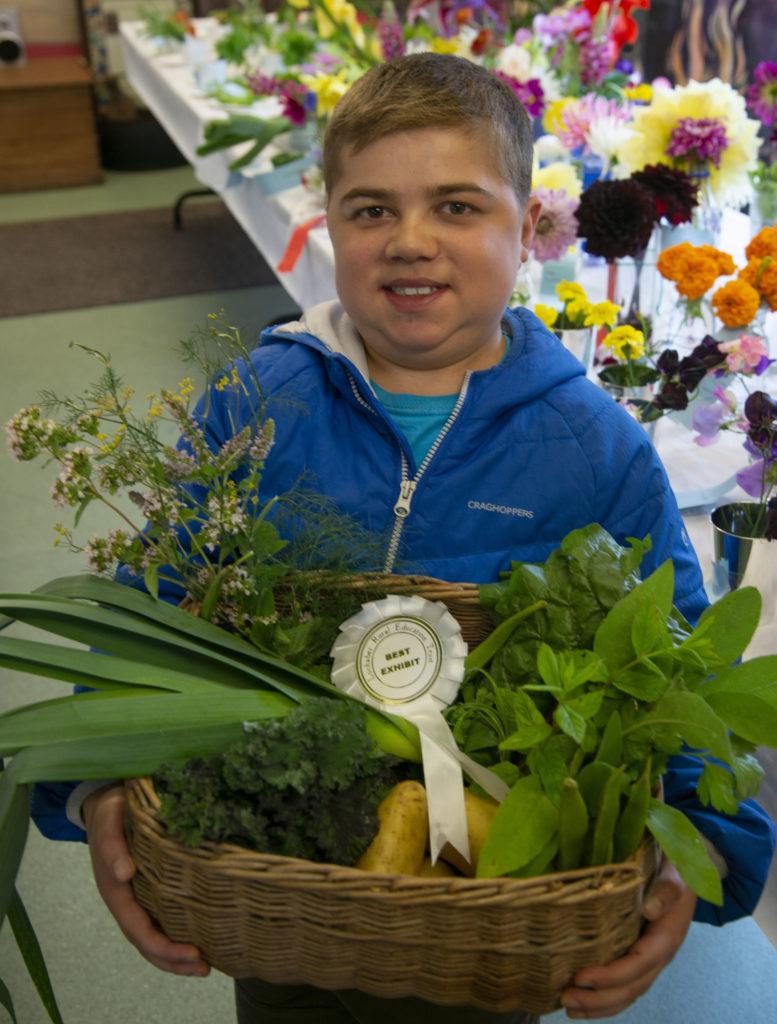 Georgio Berardelli with his Best In Show basket of vegetables.  Photo: Iain Ferguson, alba.photos. NO F37 Rural complex garden 06