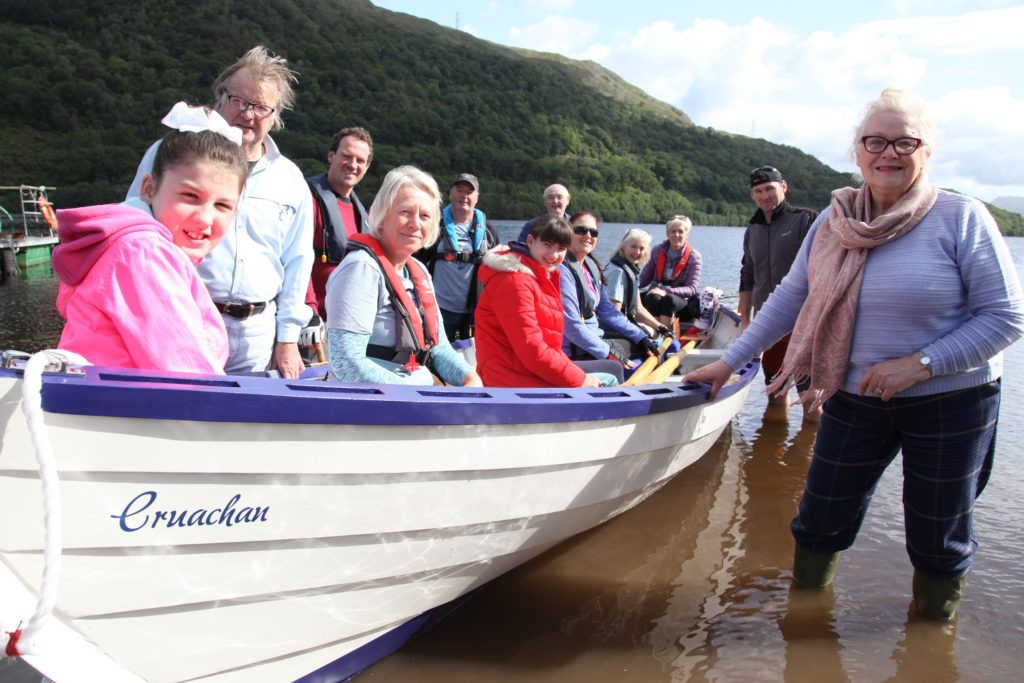 The official launch of Cruachan, KID's second skiff to take to the water. Picture by Mick Atkins.