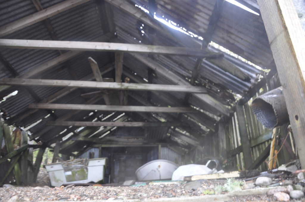 Inside the old boathouse.