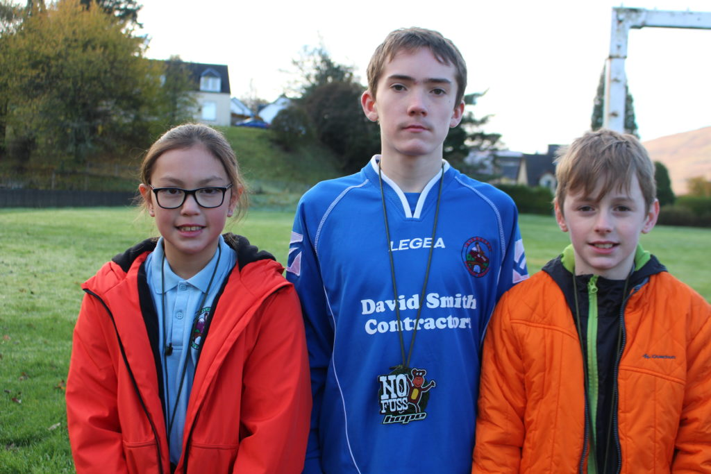 Overall second place went to the team from Invergarry Primary, from left, Mya MacCallum, Dharas Barreno and Murray Donald.  NO F45 triathlon 2nd team - Invergarry