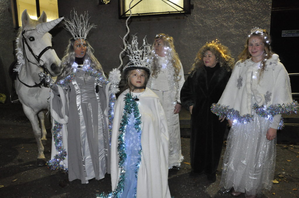 Friday night's principal players from left Eilidh Betts (Winter Queen), Alexandria Betts, Becky Scott, Elaine Cameron and Carole Needham.