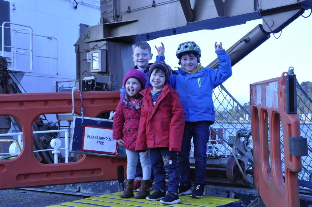 Calum MacPherson, Oran MacKay, Olivia Carson and Luke Taylor enjoyed their visit to NLB vessell Polestar.