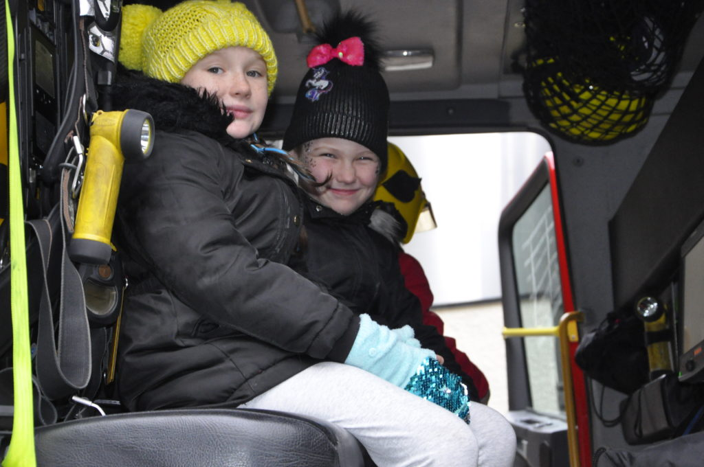 Mhari and Hazel MacLeod enjoyed taking the drivers seat in an Oban Fire Engine.