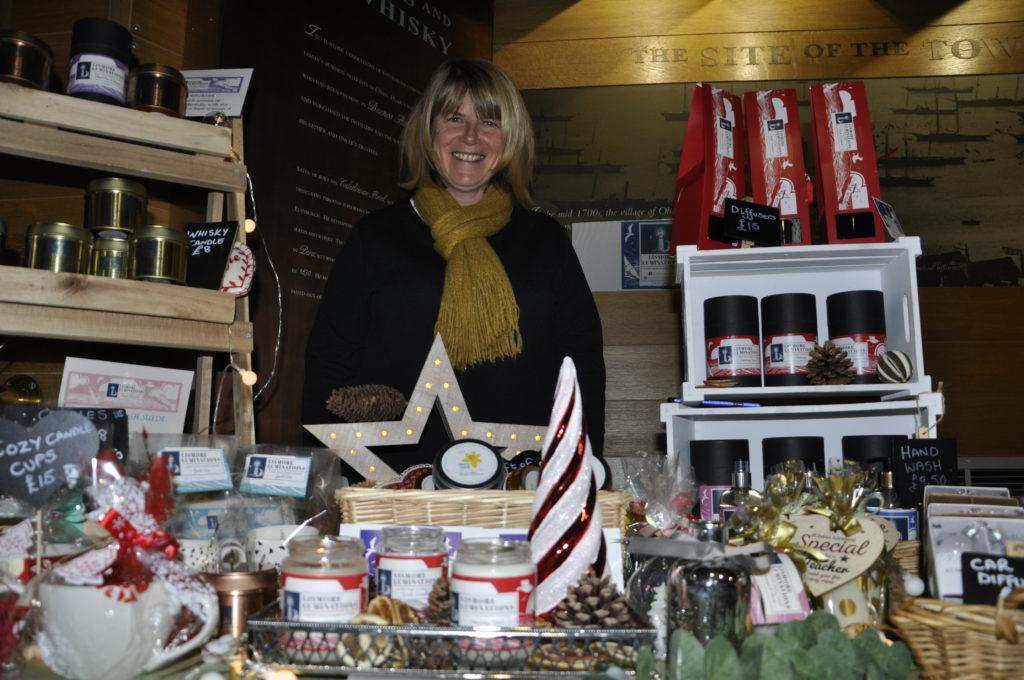 Hazel MacCormick, Lismore Luminations, set up stall in the Distillery.