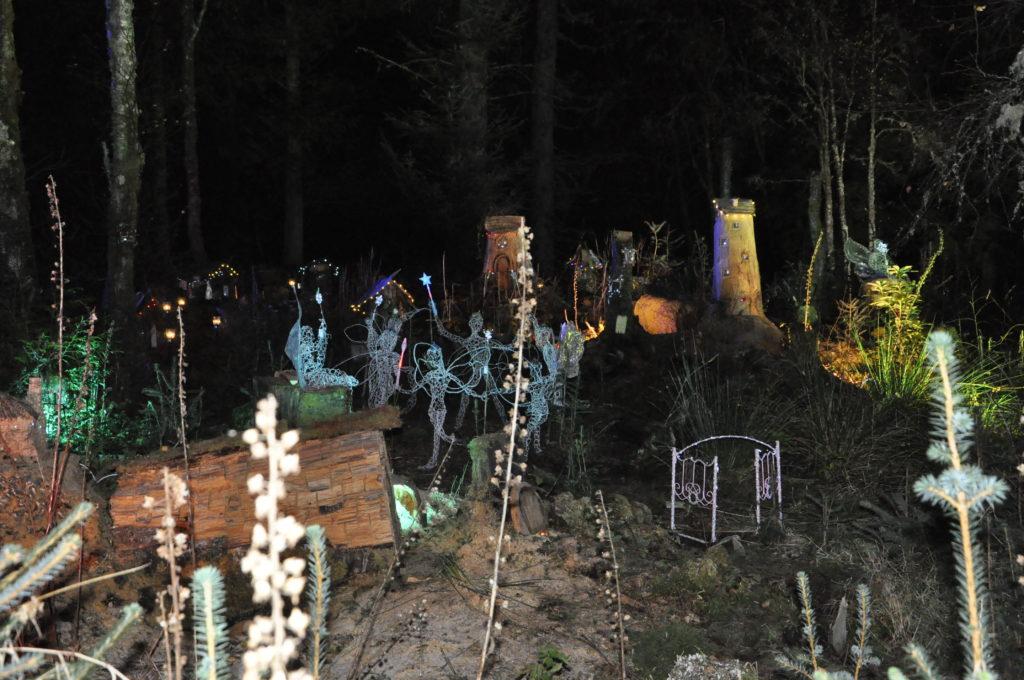 A secret fairy village in the Winter woods.