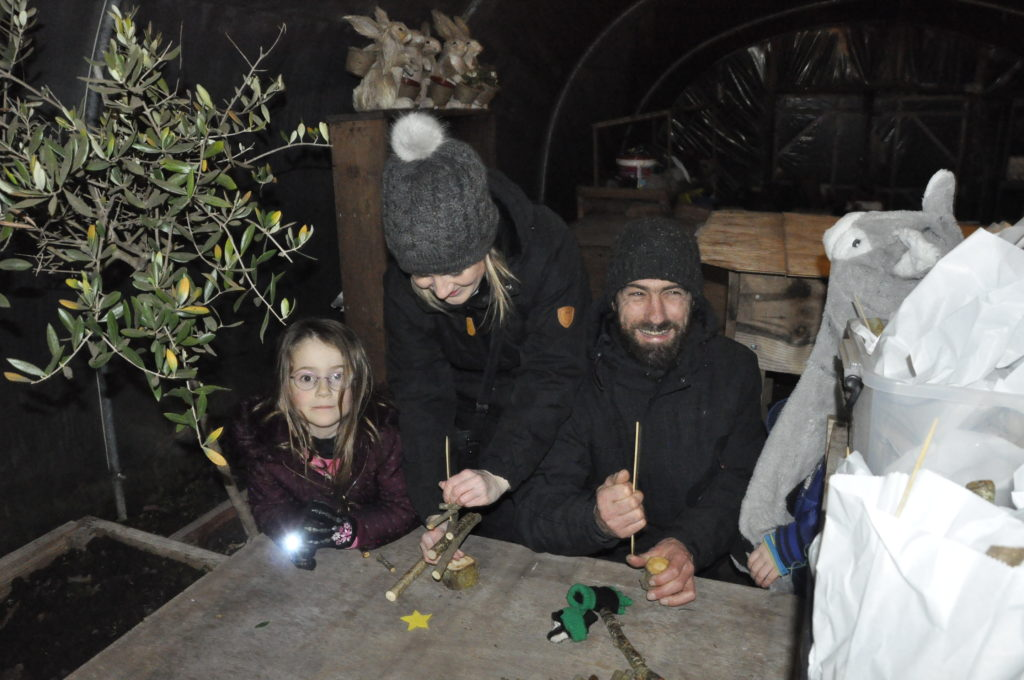 Families made their own Christmas trees at Green Shoots.