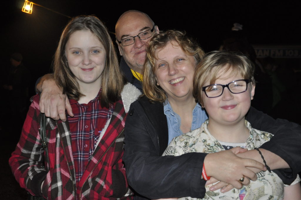 Susan and Andrew Simpson with their daughters  Charis and Niamh. 17_t45_DunbegBonfire02