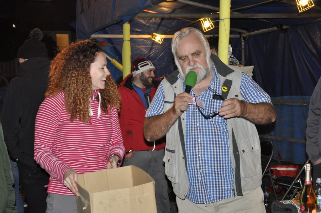 Vicky MacIntyre and Campbell Cameron were in charge of announcing the raffle winners. 17_t45_DunbegBonfire05