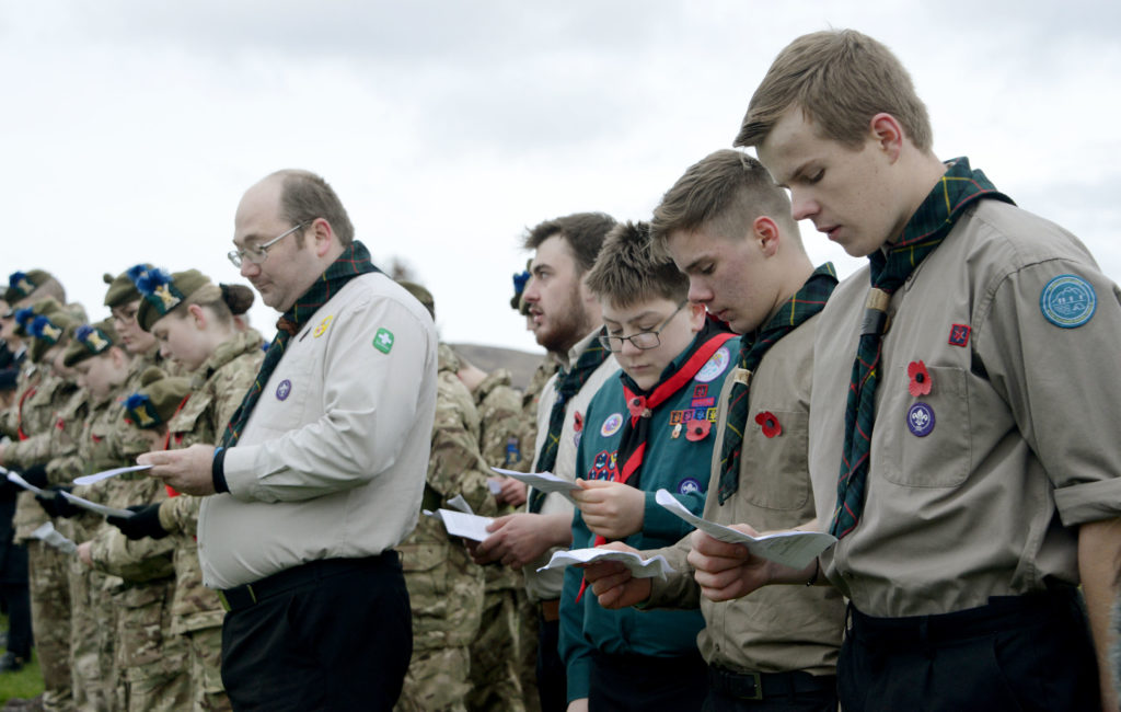 Scouts were also present for the service at the Commando Memorial. Photograph:  Iain Ferguson, alba.photos  NO F46 Commando Mem Scouts