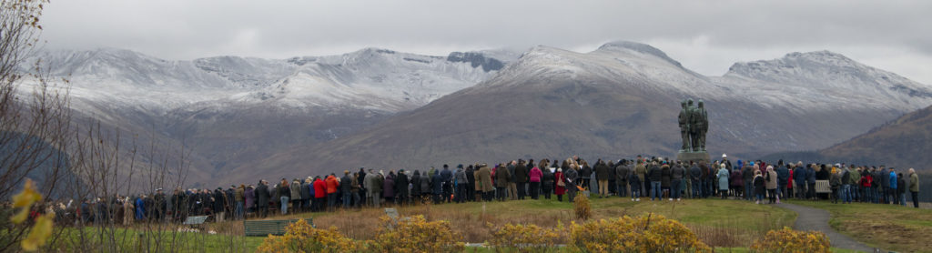 A large crowd braved the cold at the Commando Memorial. Photograph: Iain Ferguson, alba.photos  NO F46 Commando Mem crowds 01