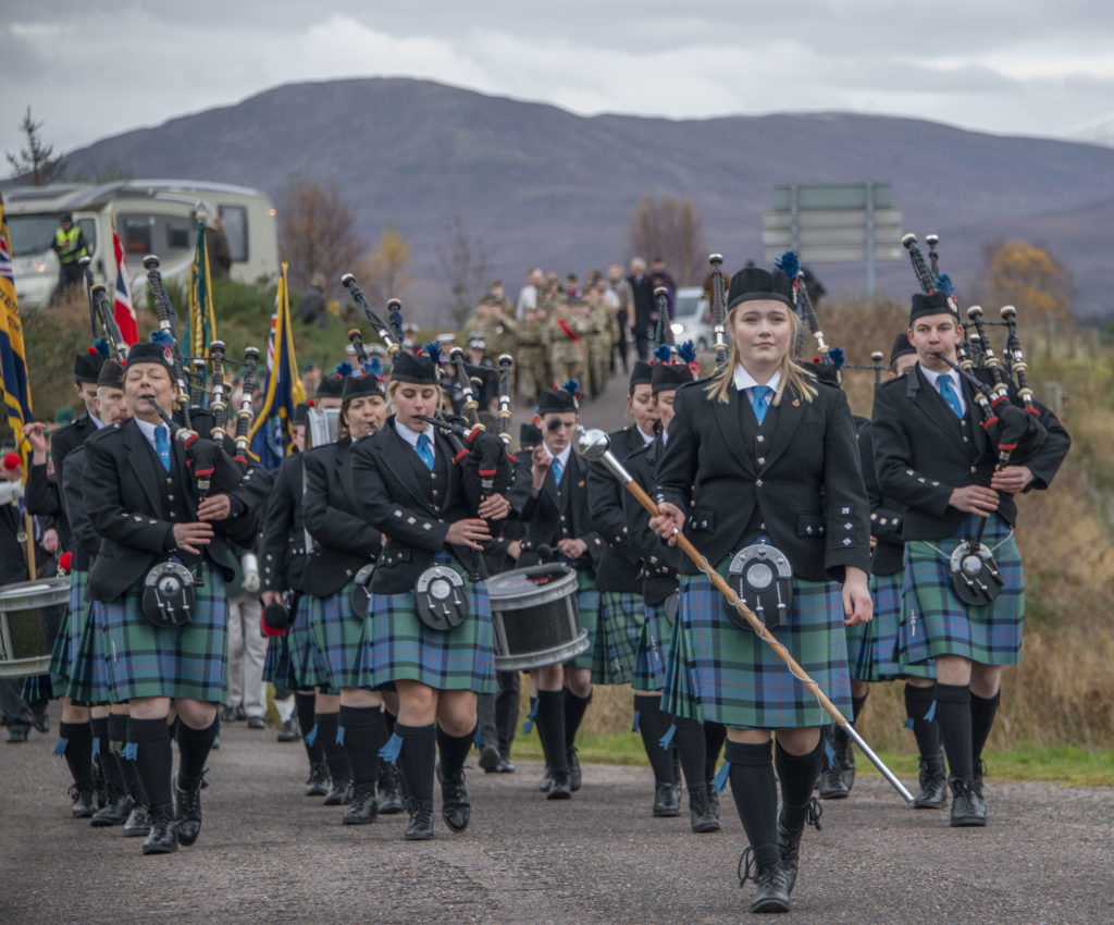 Lochaber Schools' Pipe Band leads the parade to the Commando Memorial. Photograph:  Iain Ferguson, alba.photos  NO F46 Commando Mem music parade
