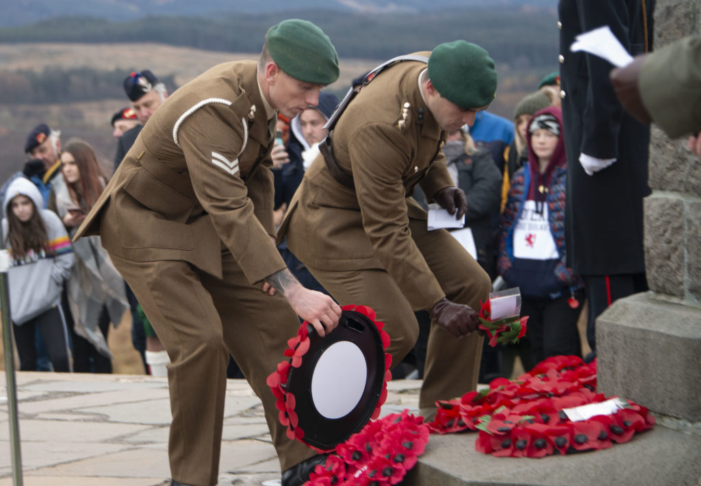 Serving Commandos lay wreaths at the memorial in November. Photograph:  Iain Ferguson, alba.photos  NO F46 Commando Mem wreaths