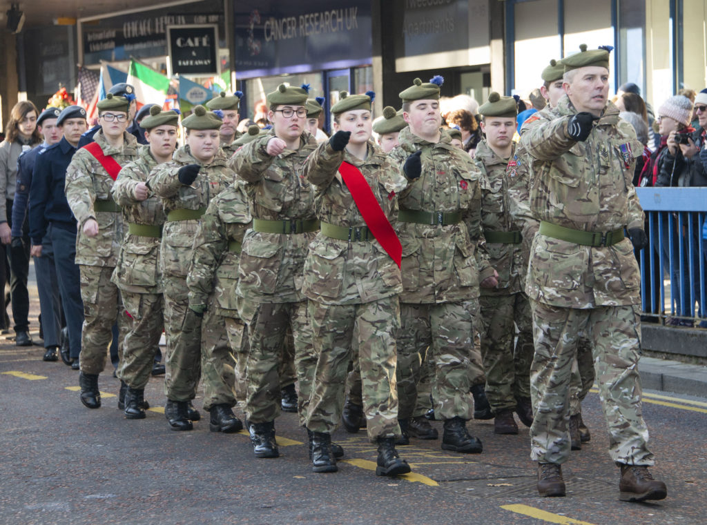 Fort William Army Cadets march smartly along the High Street. Photograph:  Iain Ferguson, alba.photos  NO F46 Fort Memorial 06