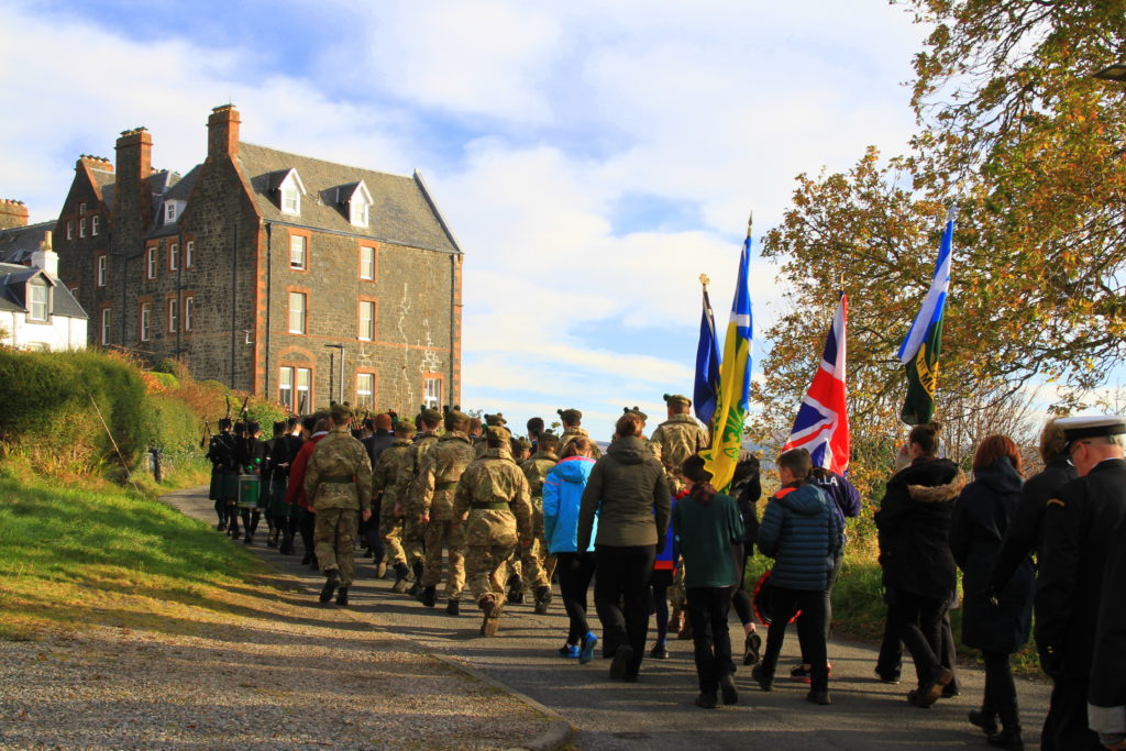 The procession approaches the Western Isles Hotel, which was given over to the command of Admiral Stephenson during the Second World War. Photograph: Stephanie Cope