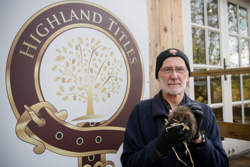 Stewart Borland, reserve manager, with one of the rescued hedgehogs.