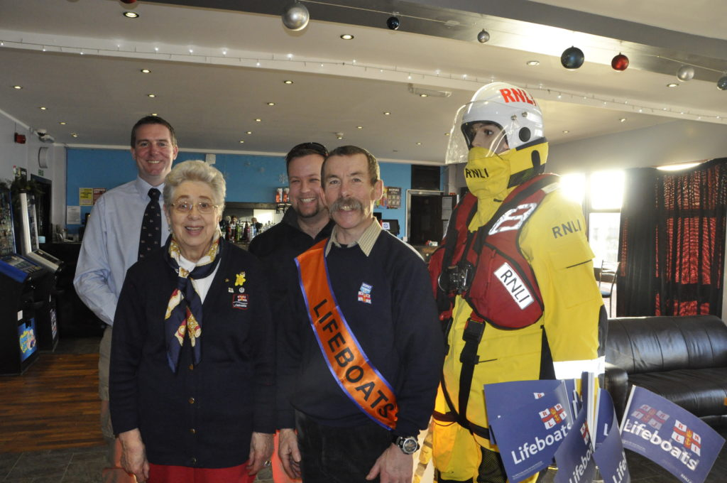 Oban Lifeboat staff and volunteers were present at the Local Heroes event in The View. From left, Ally Cerexh, Oban Lifeboat coxwain, Jenny McEvoy, RNLI fundraising volunteer, Tom Kenneger, Oban Lifeboat mechanic and Phil Hamerton, chairman of Oban RNLI Fundraising branch.