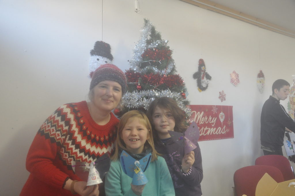 Helen Hope, Eva Reeves and Erika Baines joined in the Create and Make it for Christmas at the Rockfield Centre.