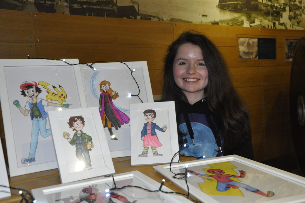 Oban High School pupil Andie MacLeod had her art on display in the Distillery during the Young Entrepreneurs Market on Saturday.