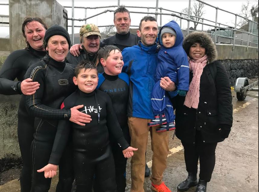 Family and friends celebrate the Kerrera boys' challenge.