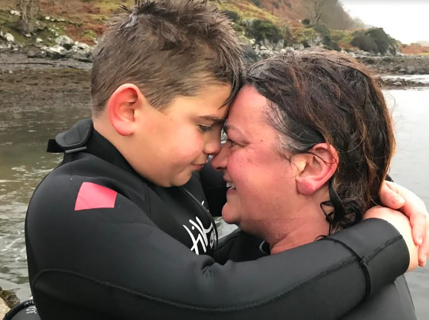 Olly Vollum just after the swim with his proud mum Gill Vollum.
