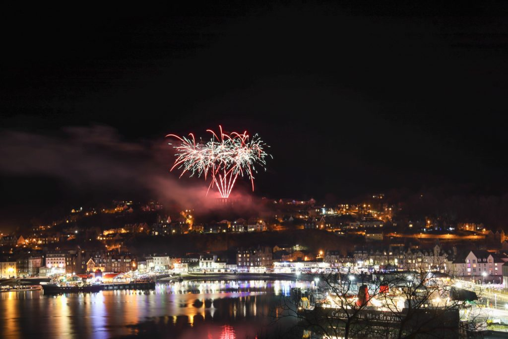 Fireworks lit up the bay as Oban welcomed the new year.