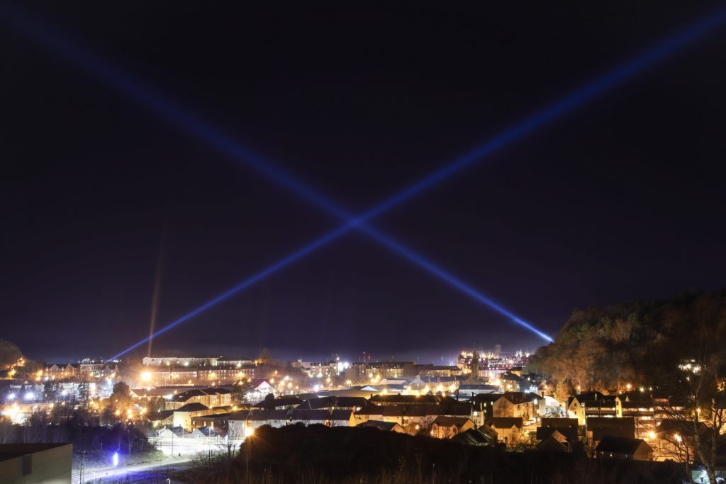 A massive saltire in the sky signalled that Oban was celebrating St Andrew's Day.