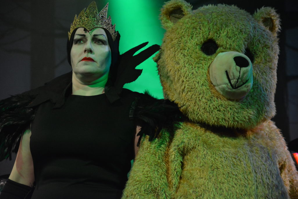 Bad versus good, Evil Morgan Le Fay with Edwina the adorable Royal teddy bear.