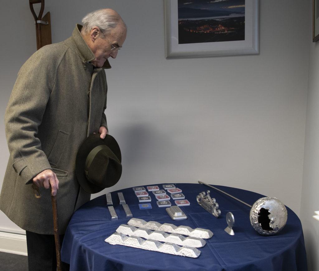 Local historian Richard Sidgwick examines some of the exhibits on display. Photograph:  Iain Ferguson, alba,photos  NO F01 LIBERTY EXHIBITION 04