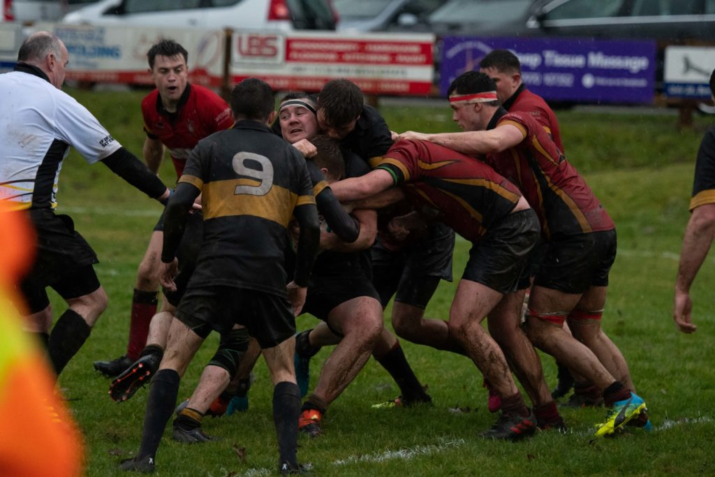 The wet blustery conditions seemed to suit Lochaber more than their visitors. Photograph: Abrightside photography.  NO F50 LRFC V GUM-4