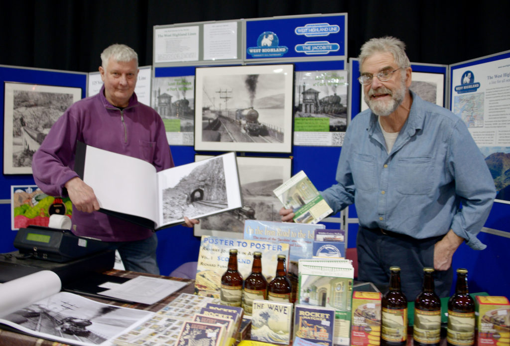 Glenfinnan Station Museum had a stall display many products, including a range of newly disovered historical pictures of the West Highland Line under construction.  Photograph: Iain Ferguson, alba.photos