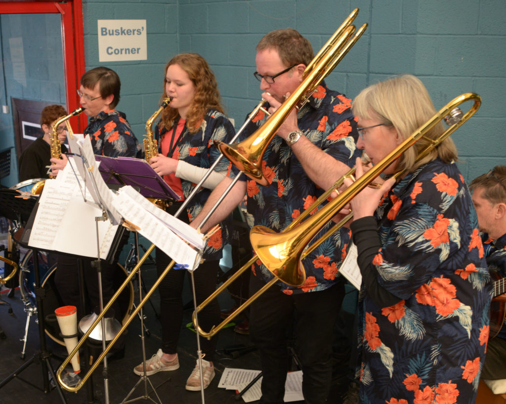 A colourfully dressed Great Glen Swing Band entertains at the  Rotary Club Christmas Craft Fair.  Photograph: Iain Ferguson, alba.photos