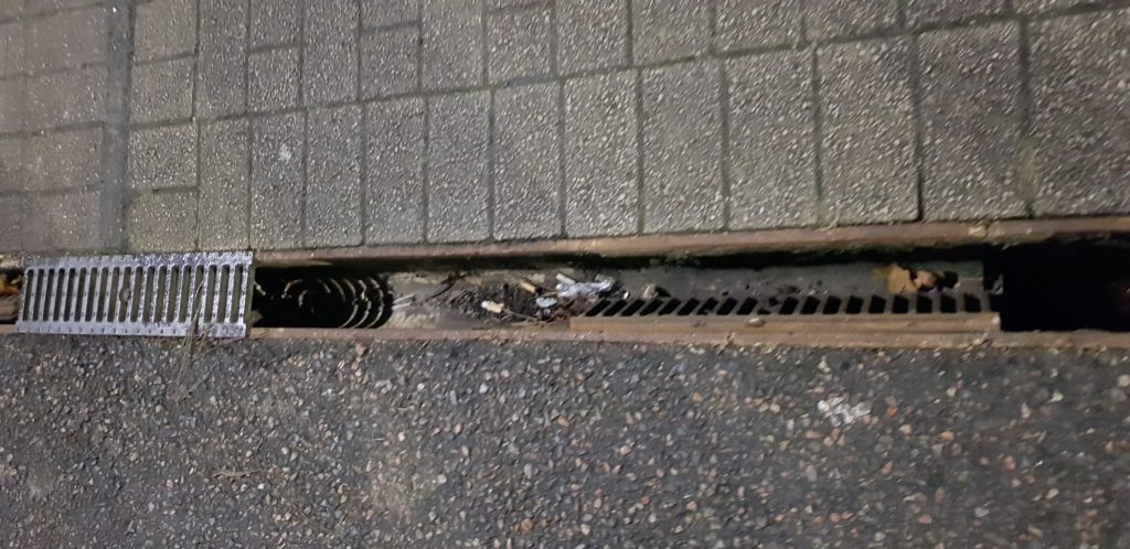 The drains are in a sorry state and it is clear how debris has been able to get in and clog them up leading to floods. Photograph: Jane Mitchell