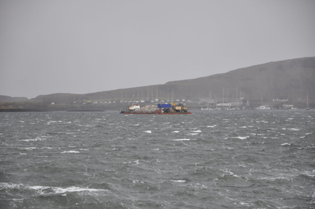 A vessel taking stone to Dunoon from Glensanda Quarry sheltered in the Bay.
