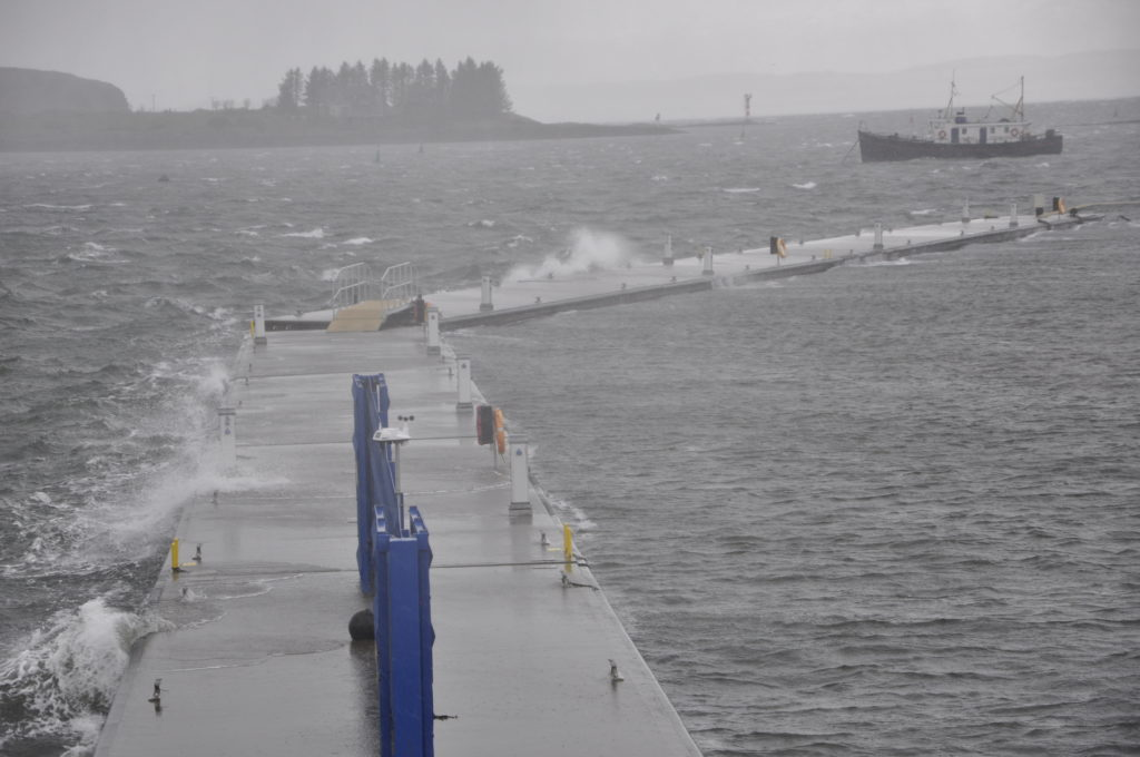 Strong winds, hail and sleet swept over the Pontoons on Tuesday.