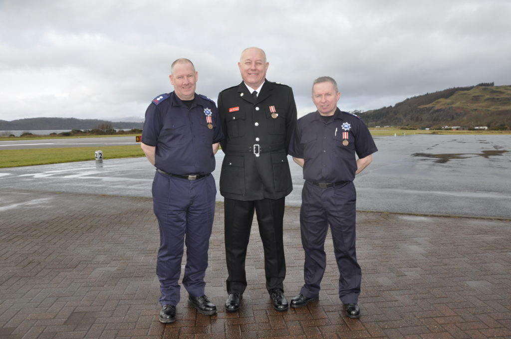 Crew Commander Murray MacGregor, Senior Airport Fire Officer Tom Eddleston and airport firefighter John MacDonald have 38 years service between them.