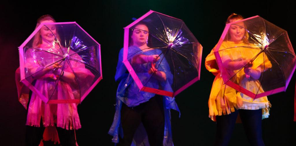 Oban High School staff perform It's Raining Men. Photograph: Kevin McGlynn.