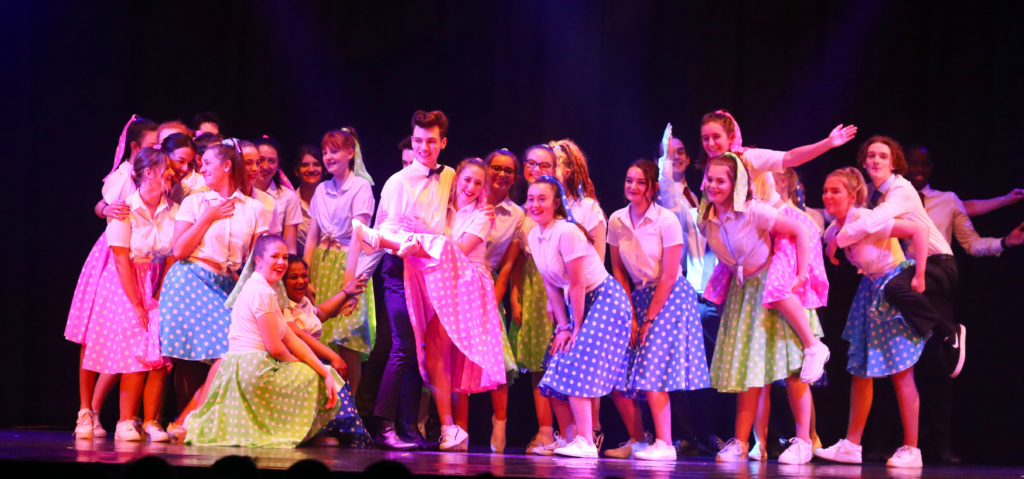 Senior pupils perform a number from the musical Hairspray. Photograph: Kevin McGlynn.