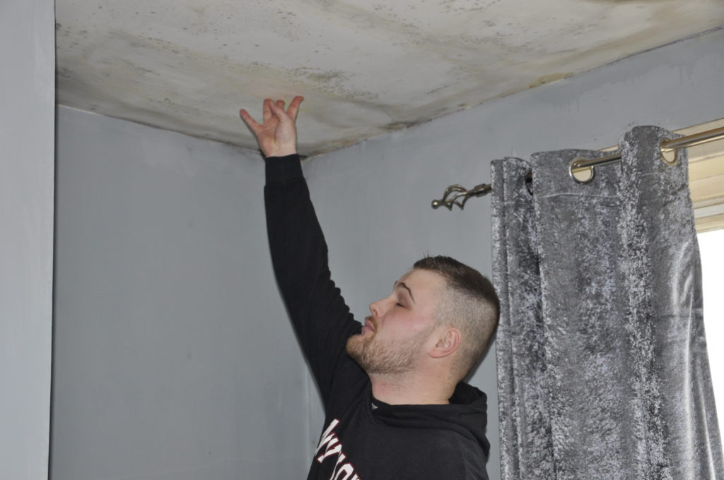 A bedroom ceiling feels close to collapse.